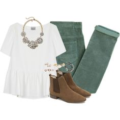 Green corduroys & peplum by classycathleen on Polyvore featuring polyvore, fashion, style, Rachel Comey, Laurence Doligé, Zara, J.Crew, Feather & Stone, Bourbon and Boweties and Carolee