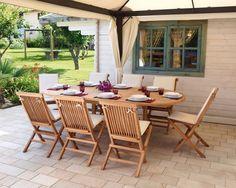 Tavolo da giardino allungabile 180/240 legno di teak + 8 sedie - SET COMPLETO