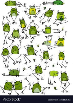 Funny frogs collection sketch for your design vector image on VectorStock Art Drawings For Kids, Drawing For Kids, Easy Drawings, Art For Kids, Zentangle Drawings, Doodle Drawings, Doodle Art, Animal Sketches, Animal Drawings