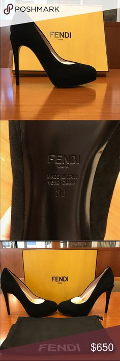 """Fendi Black Suede leather Heels 👠 These are beautiful brand new  black suede leather hill with a 4"""" hill, in original packaging. Certificate in hand. Size 8 Euro 38 I paid 700 for these beauties. Fendi Shoes Heels"""