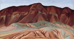 Purple Hills Ghost Ranch No. 2, 1934, oil on canvas affixed to masonite, 16 1/4 x 30 1/4 inches - desert landscape, use of color, texture, smooth