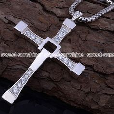 Silver Cross Pendant Long Chain Crystal Necklace
