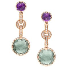 Bulgari Parentesi Pink Gold Long Gemstone Earrings 344859 ❤ liked on Polyvore featuring jewelry, earrings, rose gold earrings, evening earrings, gem jewelry, 18k rose gold jewelry and long earrings