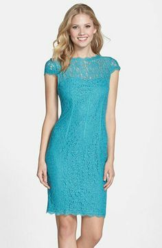Adrianna Papell - Seam Detail Lace Cocktail Dress (Jade) (a)