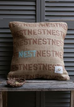 Hello!  You belong in my home!  Burlap & blue etsy