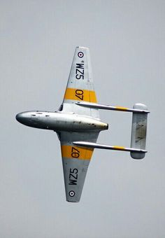 De Havilland Vampire was the first fighter plane to exceed and the first jet to takeoff and land on an aircraft carrier (in Ww2 Aircraft, Fighter Aircraft, Fighter Jets, Aircraft Carrier, Military Jets, Military Aircraft, De Havilland Vampire, Image Avion, Trains