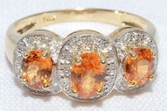 Vintage Three Citrine Stone Oval Cut and by LadyLibertyGold