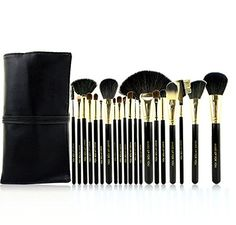 Luxury 20 Pieces Professional Cosmetic Makeup Brush Set With PU Leather Black Bag >>> You can find more details by visiting the image link.
