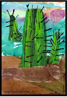 LOVED this one with grade last year. Try with second later in the year (After Tucson) Wild Wild West- Cactus Collage First Grade Art, Second Grade, Desert Art, School Art Projects, School Ideas, Kindergarten Art, Art Lessons Elementary, Le Far West, Elements Of Art