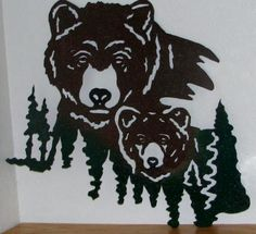 Bears - Momma & Baby w/Trees - $125.00 : Glass Moose Cart, handcrafted glass, beads/supplies, jewelry, wood & metal art, signs