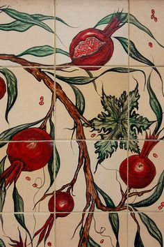 Ceramic Tiles Decorated with Pomegranates