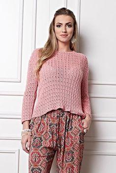 Blusa Rosa com Ponto Ajurado