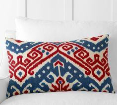 Aldrich Ikat Embroidered Lumbar Pillow Cover