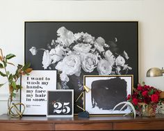 Epic Black Floral Canvas #lindsaylettersshop