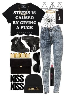"""Stress Is Caused By Not Giving A Fu.ck"" by antigoni-1 ❤ liked on Polyvore featuring Killstar, NIKE, Alex and Ani, Stila, Cartier, Anne Grand Clement, Retrò and Brian Lichtenberg"