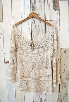 Pat Dahnke Cotton Crochet Lace Top  $225.00 #CowgirlChic