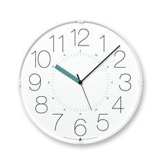 ★全品10倍★。【送料無料】レムノス Lemnos AWA CLOCK CARA ホワイト ブルー 掛け時計 おしゃれ かわいい 壁掛時計 壁掛け新築祝い お中元
