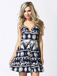 Shop Blue Geo Print Sweetheart Spaghetti Strap Romper Playsuit from choies.com .Free shipping Worldwide.$20.99