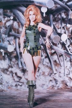 While off-screen Jane Fonda's style was all-American-girl, on-screen she took the lead in the space-age cult-classic Barbarella and in doing so created one of the most iconic images of Sixties cinema.