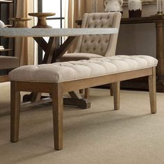 Benchwright Premium Tufted Reclaimed Upholstered Bench by iNSPIRE Q Artisan (Beige Linen), Brown (Bonded Leather) Upholstered Dining Bench, Decor, Upholstered Bench, Dining Room Bench, Furniture, Tufted Bench, Dining Chairs, Home Decor, Upholstery