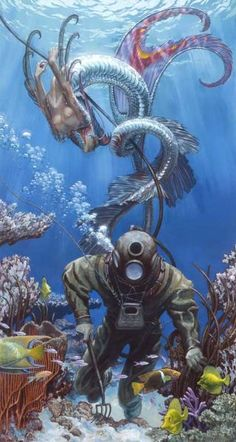 """"""" """"One of Hickman's most entertaining stories centers on a painting titled 'Diver and Mermaid.' Originally a private commission, the painting received a second life when Hickman bought it. Real Mermaids, Mermaids And Mermen, Mythical Creatures, Sea Creatures, Deep Sea Diver, Desenho Tattoo, Mermaid Tattoos, Sea Art, Merfolk"""