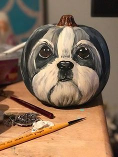 Your Shih Tzu Hand Painted Pumpkin Lhasa Pumpkin! Shih Tzu Puppy, Shih Tzus, Yorkie, Dog Pumpkin, Pumpkin Ideas, Cute Dogs Breeds, Painted Pumpkins, Dog Paintings, Dog Quotes
