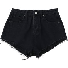 Denim Cutoffs Mini Shorts Black (355 MXN) ❤ liked on Polyvore featuring shorts, cutoff shorts, micro denim shorts, denim shorts, denim cut-off shorts and mini shorts
