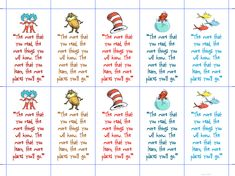 dr seuss activities printable | Then I just glued the business cards onto large manilla shipping tags ...