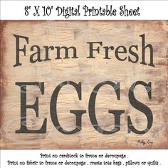 Primitive Printable Download Farm Fresh Eggs , Farmhouse Decor , Sooo..... Easy…