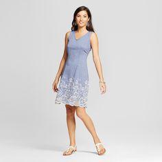 Women's Embroidered Denim Tank Dress - Zac & Rachel - Light Blue 12 #tankdress