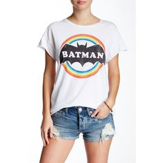 Junk Food Batman Tee ($20) ❤ liked on Polyvore featuring tops, t-shirts, electric white, white cotton tee, short sleeve tee, short sleeve t shirt, cotton crew neck t shirts and crew t shirt