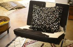 Add some rockstar chic to your home with these large black hand sequined Moroccan cushions.  All wool.  Moroccan style with some serious glamour! Available on Maryam Montague's online Souk!  http://www.mmontague.com/cushions-inventory/black-wedding-blanket-cushion
