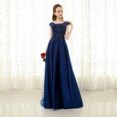 e256c78d35 A-Line Tulle Cap Sleeve Scoop Lace Beads Flower Appliques Navy Blue Prom  Dress Long Evening Dress 2018