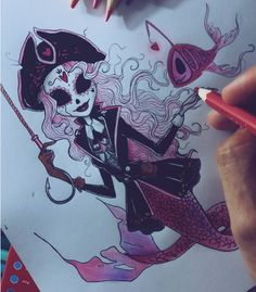 My Ghost Mermaid for the 💖💀🐙 Comment a name for her. Tim Burton Drawings Style, Art Tim Burton, Tim Burton Art Style, Tim Burton Stil, Tim Burton Kunst, Disney Drawings, Cartoon Drawings, Cute Drawings, Character Art