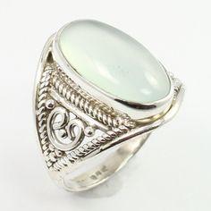 Designer Ring Size US 5.75 Real CHALCEDONY Gemstone 925 Sterling Silver Handmade #SunriseJewellers