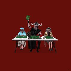 Mola Ram at Bingo... Illustrated Series of TV & Movie Characters On Their Days Off by Kiersten Essenpreis
