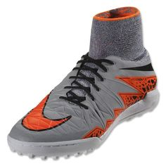 Nike Hypervenom X TF Turf Soccer Shoes (Wolf Grey/Orange)