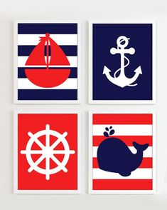 Items similar to Nautical Prints - Red and Navy set of 4 - Beach Ocean Sea more colors available on Etsy Nautical Prints, Nautical Nursery Decor, Nautical Party, Nursery Wall Art, Navy Party, Baby Shower Marinero, Boy Nursery Colors, Deco Marine, Red Wall Art