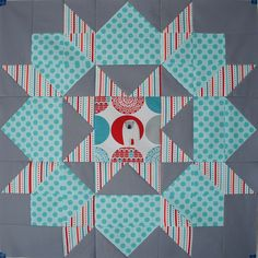 Fabulous quilt block from Angela at Twee cut to pieces using my Brr! fabric from Robert Kaufman Fabrics