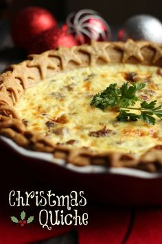 My family loves this Christmas breakfast Quiche! The savory sausage and sweet cranberries combine to make a delicious breakfast or appetizer for the Holidays. Christmas Morning Breakfast, Christmas Brunch, Christmas Cooking, Christmas Meals, Breakfast Quiche, Breakfast Dishes, Breakfast Recipes, Quiches, Holiday Recipes