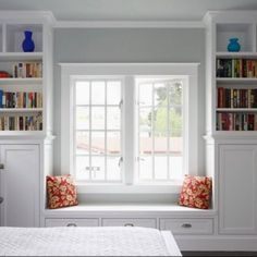 WS14: Seat with Drawers & Surrounding Bookcase