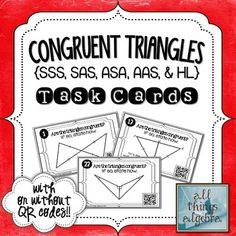 Congruent Triangles Task Cards {SSS, SAS, ASA, AAS, & HL}