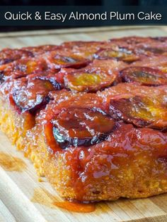 A quick & easy upside down cake made with an almond cake batter and sweet seasonal plums.Delicious served warm with vanilla ice cream! Plum Recipes, Rock Recipes, Cake Recipes, Dessert Recipes, Fruit Recipes, Sweet Recipes, Elderberry Pie, Plum Upside Down Cake, Easy Desserts