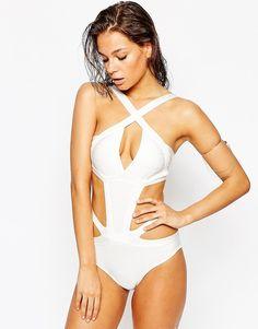 Image 1 of Luxe Lane St Barth Bandage Swimsuit White Swimsuit 6c84c9364