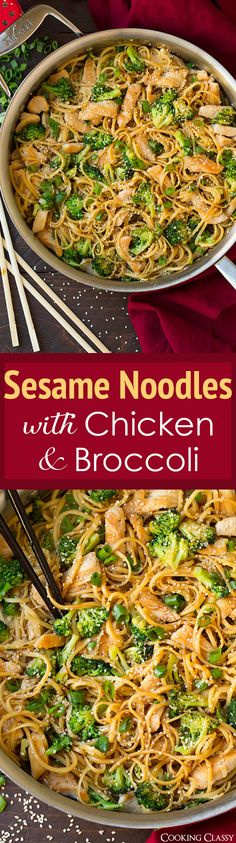 Frugal Food Items - How To Prepare Dinner And Luxuriate In Delightful Meals Without Having Shelling Out A Fortune Sesame Noodles With Chicken And Broccoli - We Finished Off Every Last Noodle Delicious Love That It's Quick And Easy To Make Too Asian Recipes, New Recipes, Dinner Recipes, Cooking Recipes, Healthy Recipes, Recipies, Mie Noodles, Sesame Noodles, Chicken Noodles