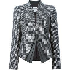 Armani Collezioni check print layered blazer ($875) ❤ liked on Polyvore featuring outerwear, jackets, blazers, grey, gray jacket, armani collezioni jacket, checkered jacket, armani collezioni and grey blazer