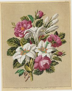 Easter--make it for next year. The flowers symbolize Mary (roses, purity of white bearing the gold treasure of Christ) and Easter. 123 Cross Stitch, Cross Stitch Flowers, Cross Stitch Designs, Cross Stitch Patterns, Rose Embroidery, Embroidery Patterns Free, Cross Stitch Embroidery, Art Deco Cards, Needlepoint Kits