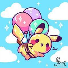 Super cute balloon pikachu digital art by I love kawaii pokemon fan art! Cute Animal Drawings Kawaii, Cute Kawaii Animals, Cute Drawings, Kawaii Doodles, Cute Doodles, Kawaii Art, Cute Pokemon Wallpaper, Cute Cartoon Wallpapers, Baby Pokemon