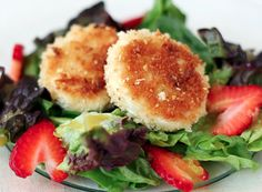 fried goat cheese & strawberry salad