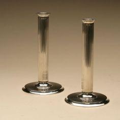 Gallery 925 - Georg Jensen Candlesticks, no. 855E by Sigvard Bernadotte, Handmade Sterling Silver